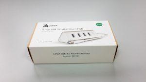 AUKEY USB 3.0 Hub 4 Port Aluminium Super Speed kompatibel Windows XP, Windows Vista, Windows 7, Windows 8, Windows 10, Mac OS Schwarz